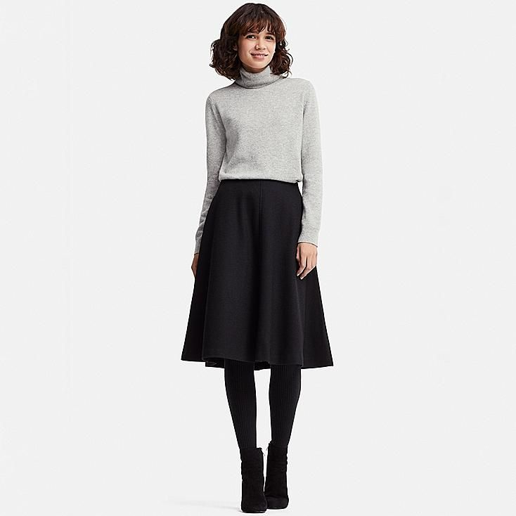 076c4f4038 WOMEN WOOL-BLEND HIGH-WAISTED FLARED SKIRT, BEIGE | Clothes | Uniqlo ...