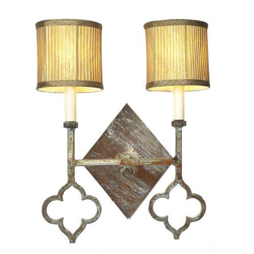 Wrought Iron Deep Ocean Finish Large Quatrefoil Wall Sconce Wall