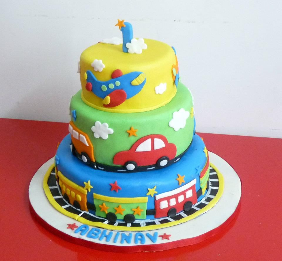 Torte Für Kinder Auto Nice Colorful Fondant Cake For Boy ..train, Airplane, Cars
