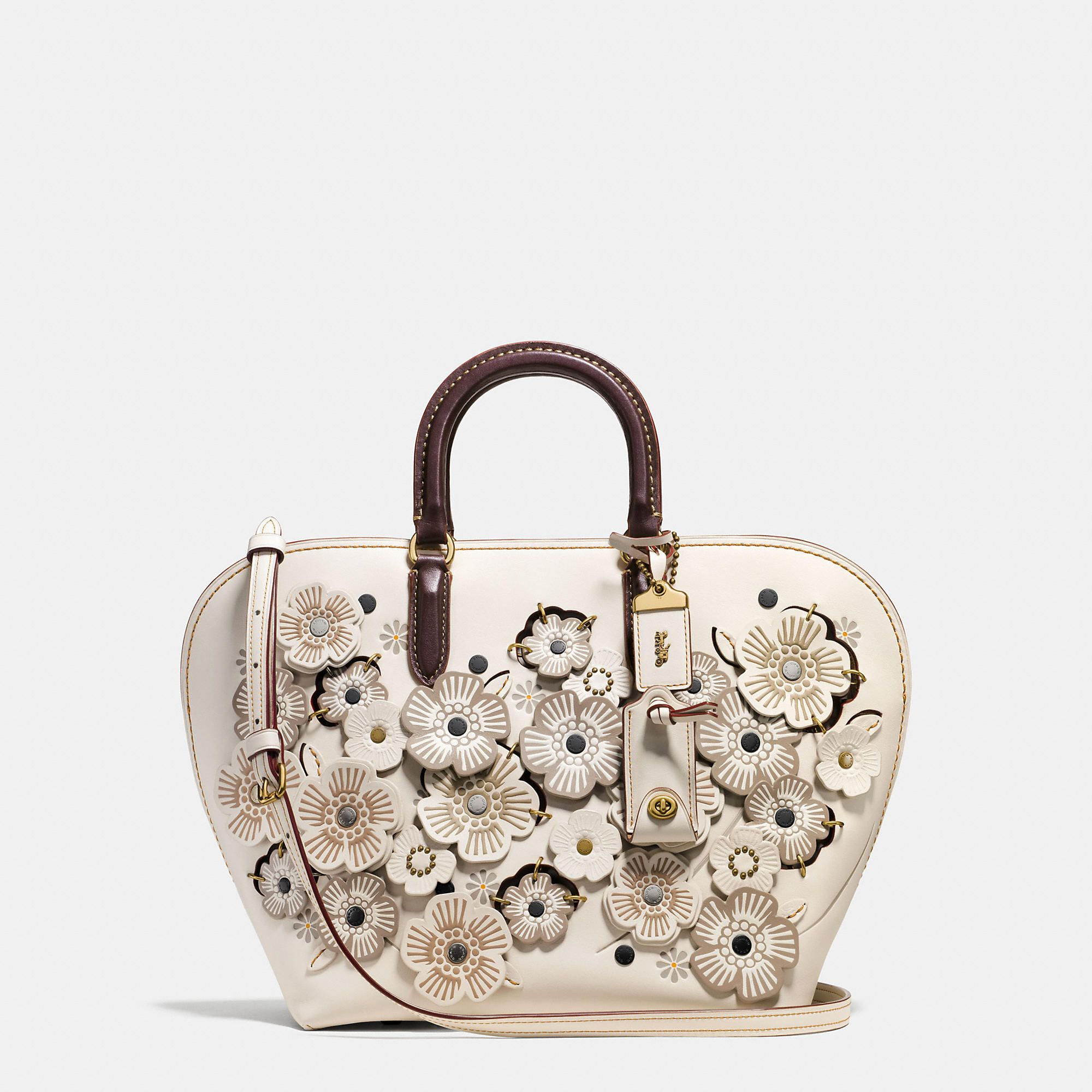 3bad8abfd0 COACH  Dakotah Satchel In Glovetanned Leather With Linked Tea Rose