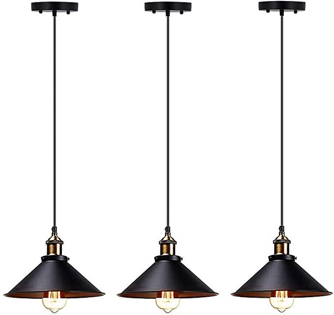 T A Industrial Edison Kitchen Pendant Light 3 Pack Antique Brass Hanging Lighting Fixture F Hanging Light Fixtures Hanging Ceiling Lamps Hanging Lights Kitchen