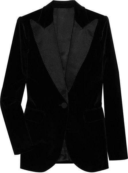 47c327cd50ab Women's Black Satin-trimmed Velvet Tuxedo Jacket | Velvet | Tuxedo ...