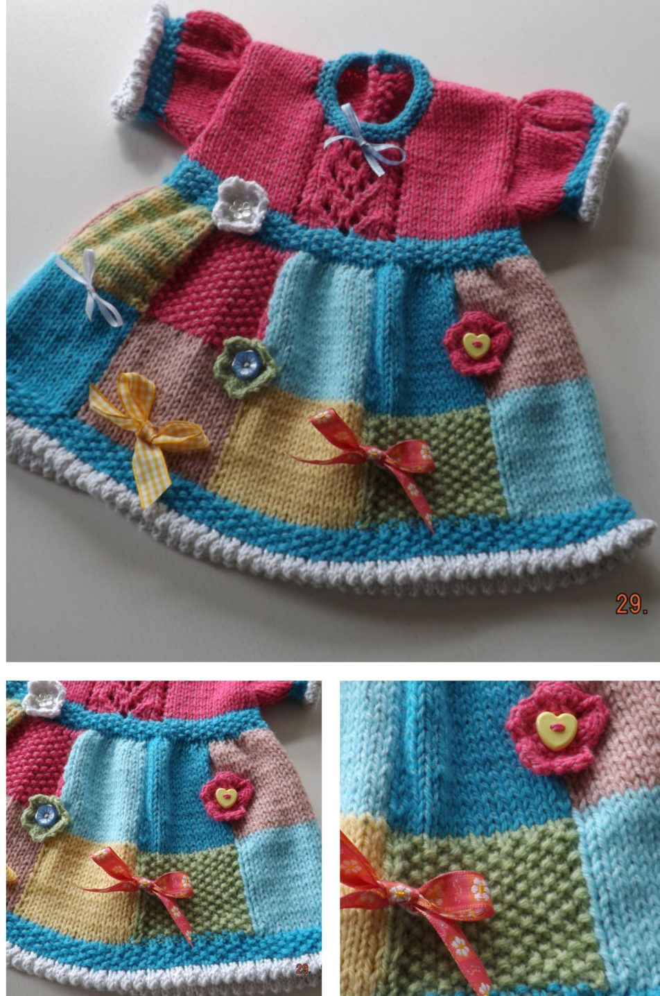 f16d7ee7ecf Knitting Pattern for Patchwork Baby Dress - Great stashbuster! This baby  dress is designed to use up oddments of leftover yarn. The skirt is knitted  in faux ...