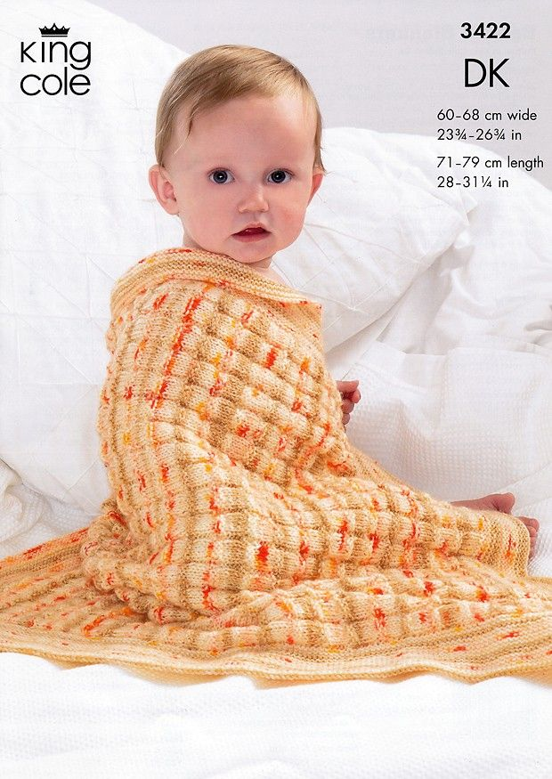 DK BABY BLANKET KNITTING PATTERN 4 DIFFERENT BLANKETS KING COLE 3422