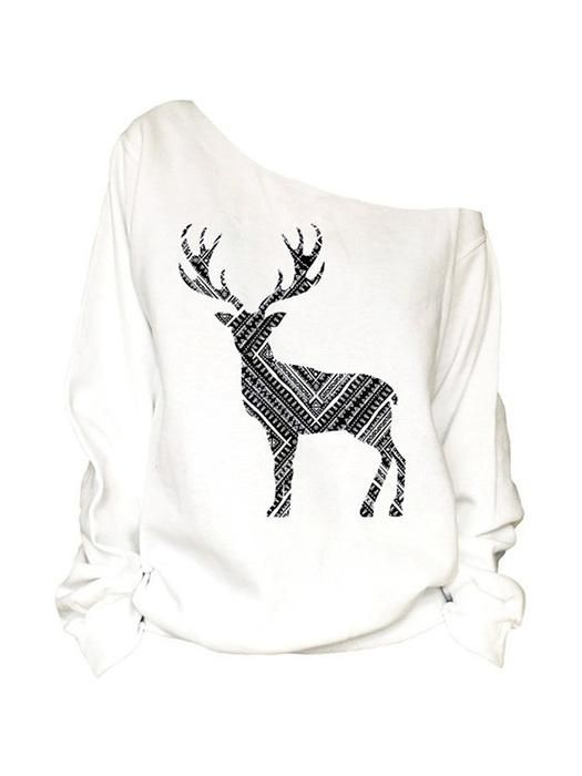 8380658679a1 Autumn Winter Women Casual Long Sleeve Off Shoulder Shirt Ladies Christmas  Elk Printed Pullover Tops