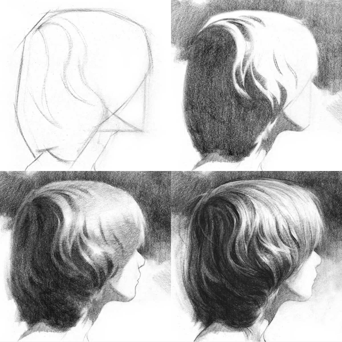 Proko Demonstrates Drawing Hair Volume First Then Lights And Darks Add Highlights Then Texture Last How To Draw Hair Drawings Art