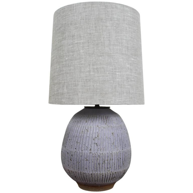 Hand Carved Lavender Stoneware Lamp By Mt. Washington Pottery