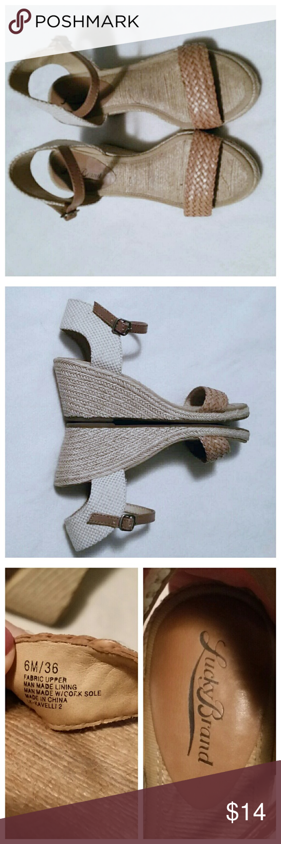 Lucky Brand Wedge heels In excellent condition.  Sisal and cork wedge heel. Lucky Brand Shoes Wedges