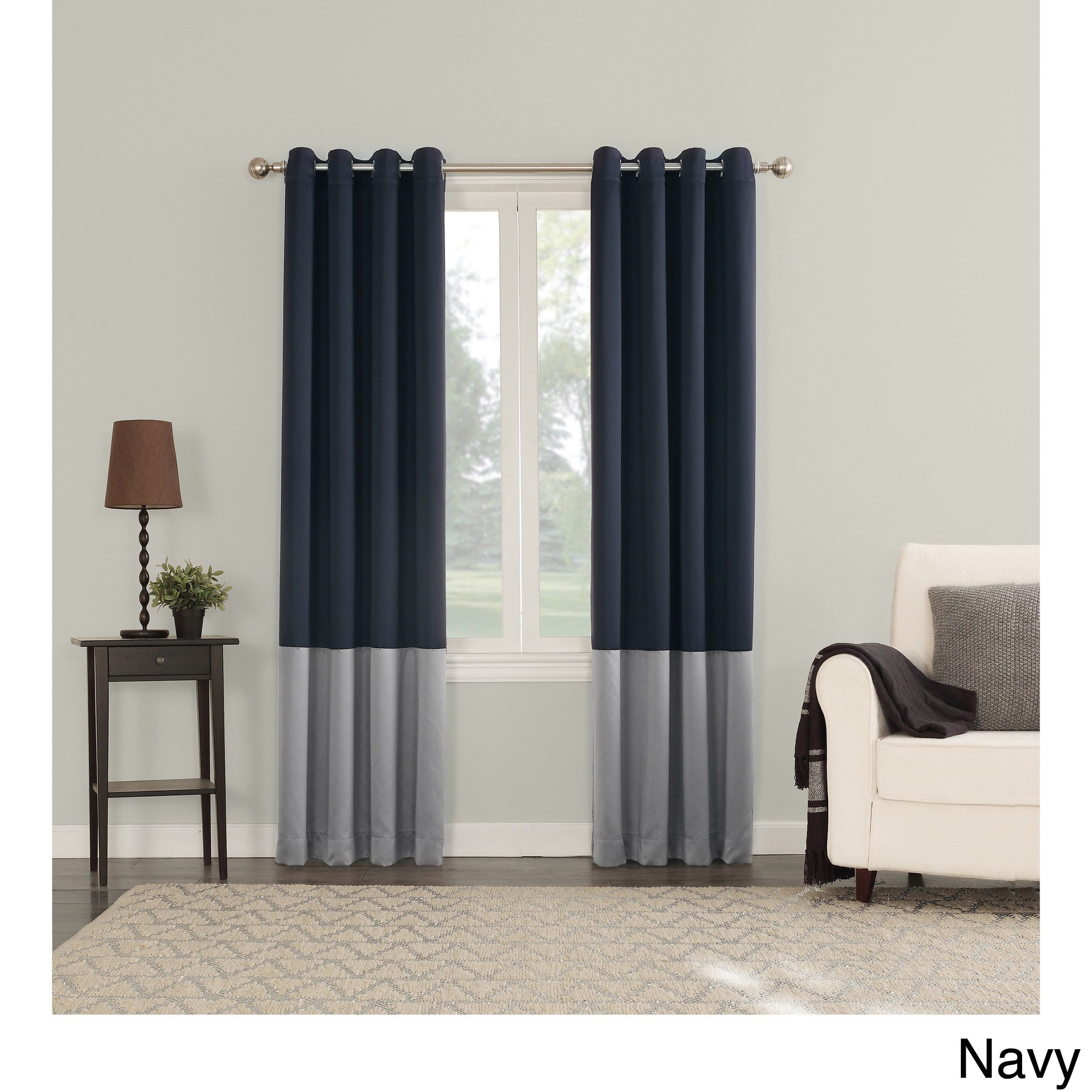 Window coverings to block sun  sun zero plymouth room darkening lined grommeted curtain panel navy