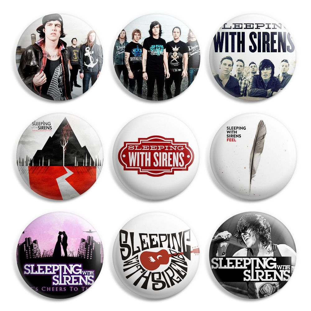 Sleeping With Sirens Pinback Button Pin Badge (Pack of 9)- 1 inch