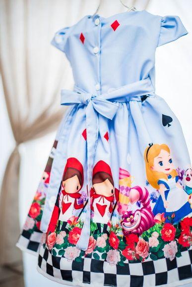 Vestido Infantil Alice No Pais Das Maravilhas Medidas Tamanho