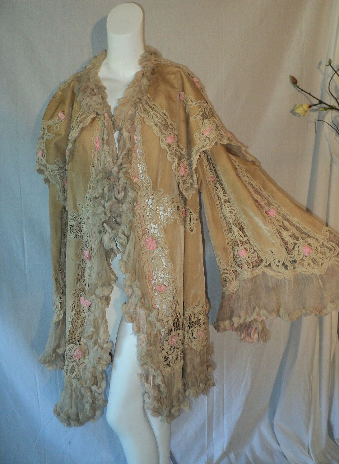 Amazing Antique Tape Lace Edwardian Coat with Champagne Velvet and Pink Rosettes 1912 Titanic Era.