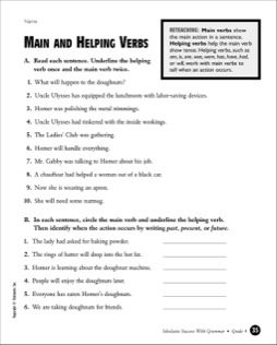 Main And Helping Verbs Grade 4 School Pinterest Compound