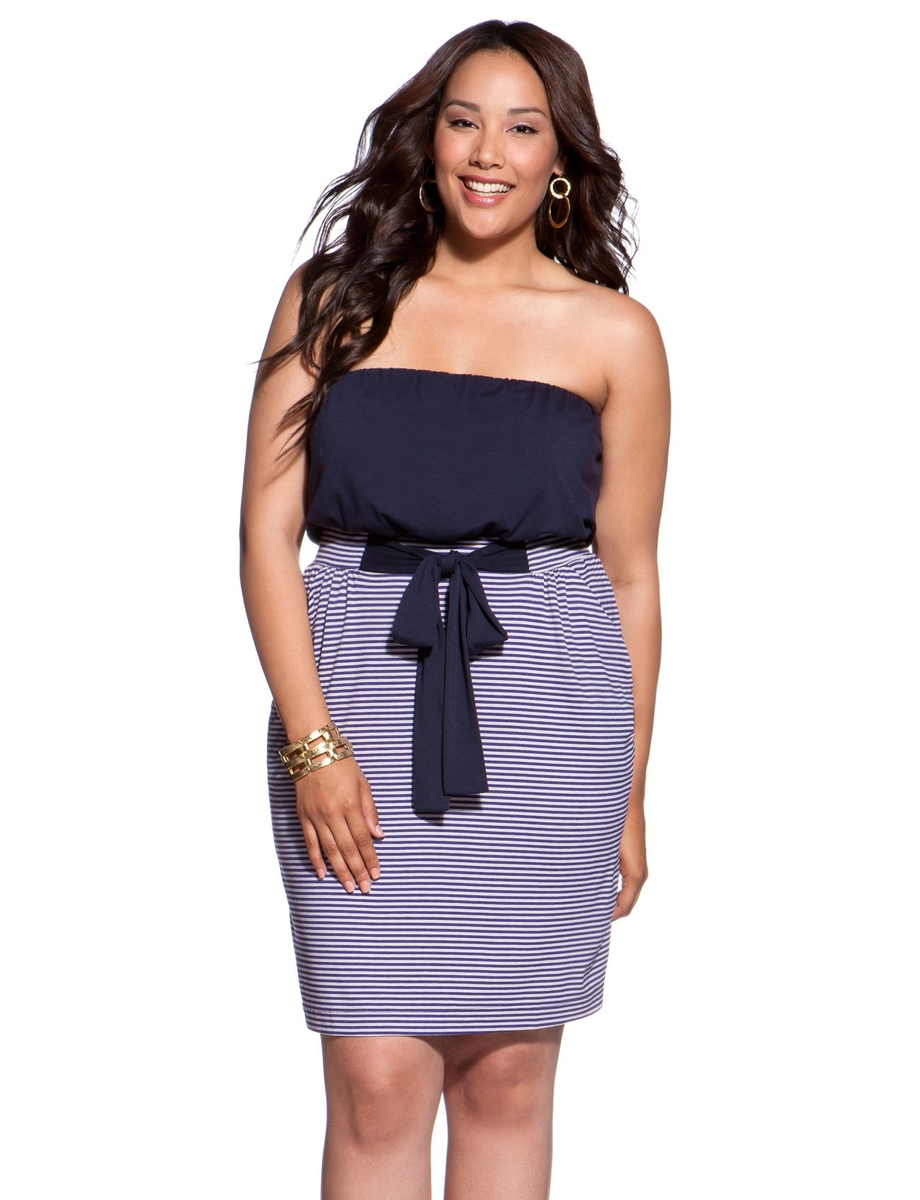 a22cfa59ae3a4e Striped Tube Top Dress - Women s Dresses   Plus Size Dresses - eloquii by  The Limited