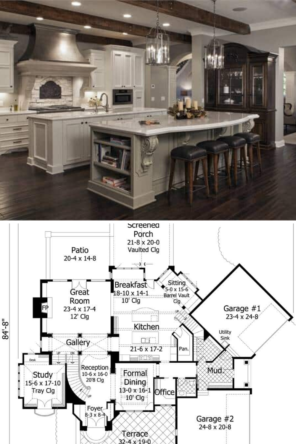 Two Story 4 Bedroom French Country Home Floor Plan French Country House French Country House Plans Floor Plans