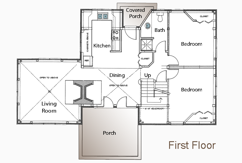 small cabin house floor plans post and beam floor plan 3 bedroom guest house - Small 3 Bedroom House Plans