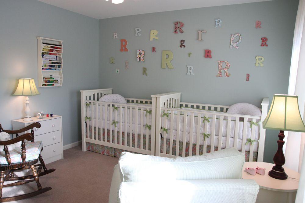 "Twin Baby Room Ideas love the paint color! sherwin williams ""rainwashed"" | nursery"