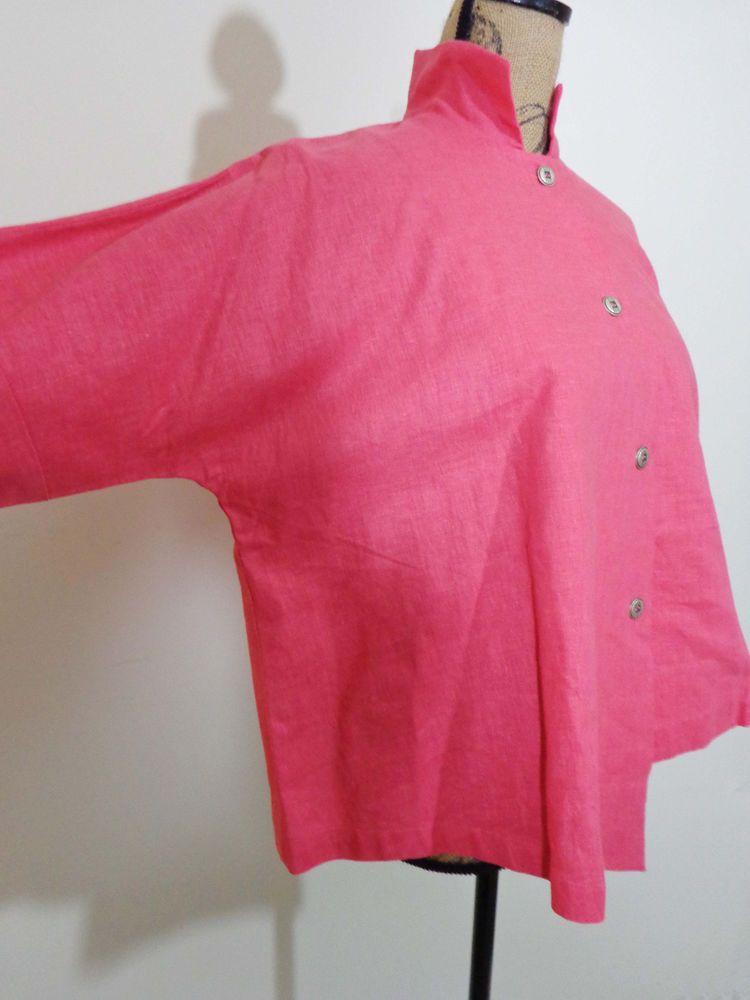 Itemz Chris Baumgartner jacket lagenlook artsy coral art to wear linen sz OS New #ItemzChrisBaumgartner #BasicJacket