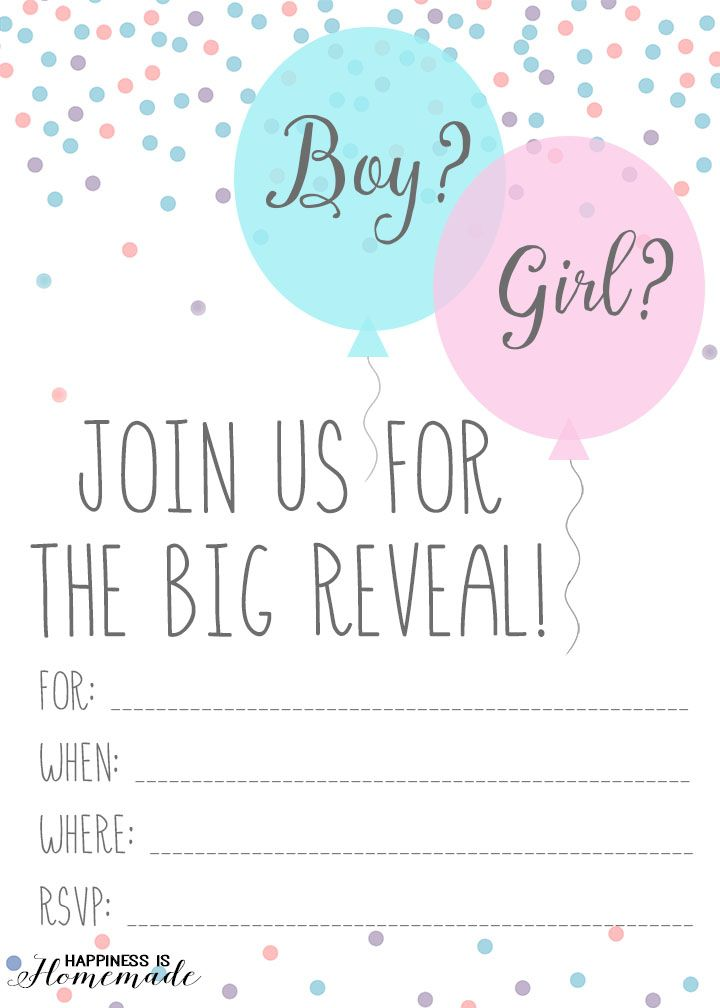 baby gender reveal party ideas - Free Printable Gender Reveal Party Invitations
