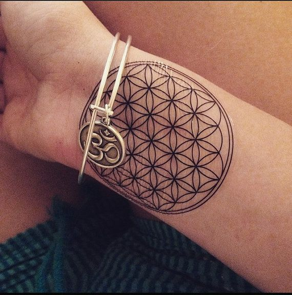 a super cute sacred geometry flower of life temporary tattoo application when choosing a place. Black Bedroom Furniture Sets. Home Design Ideas