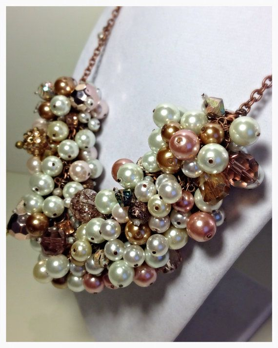 OOAK Romantic Pearl & Crystal Cluster Necklace by PearlsForDogTags, $56.50