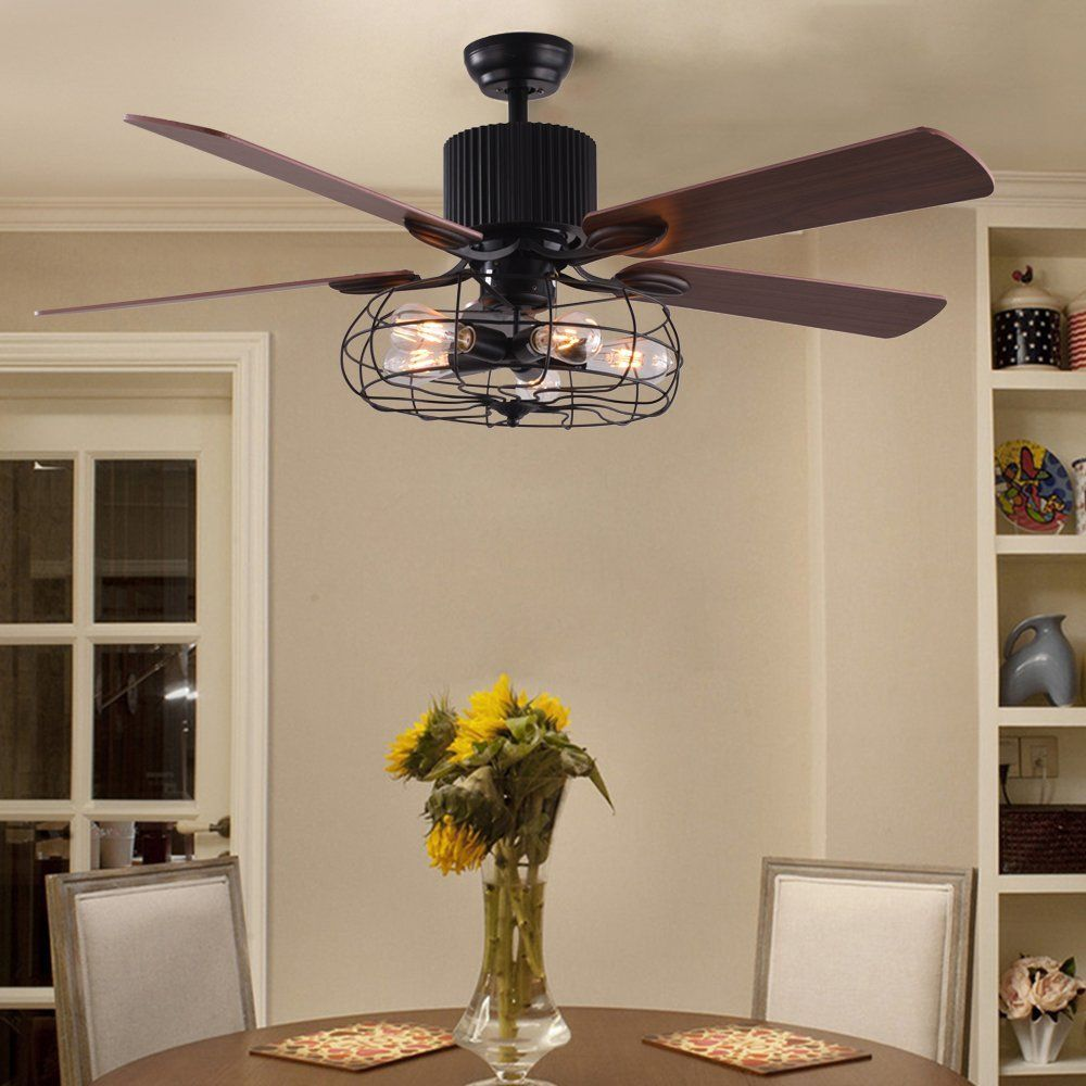 Natge 52 Inch Retro Ceiling Fan Light With Remote Control 5 Wood Leaves