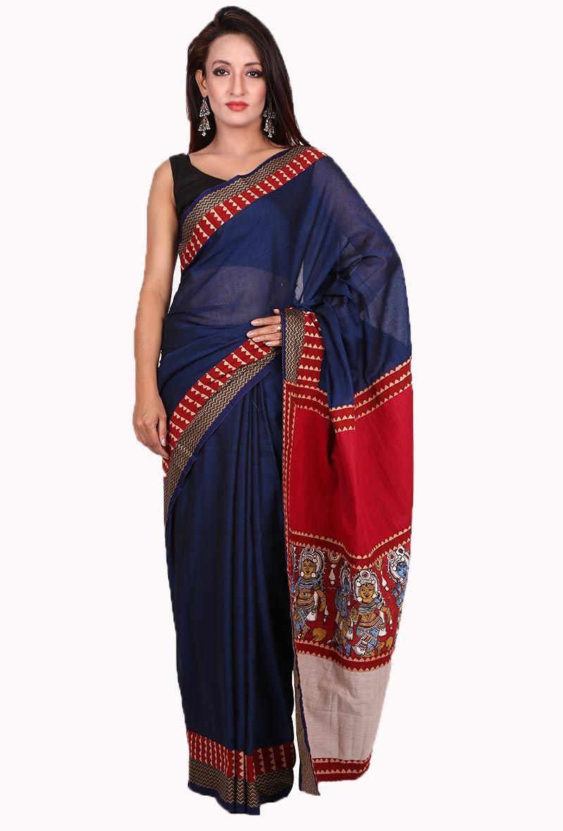 86d4f92350 Blue Narayanpet handloom cotton saree | indian handloom sarees ...