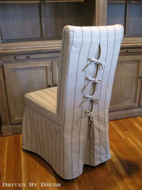 Tie Back And Corseted Slipcovers A Fun Way To Dress Up Plain Parsons Chairs Driven By Decor Dining Room Chair Slipcovers Slipcovers For Chairs Dining Chair Covers