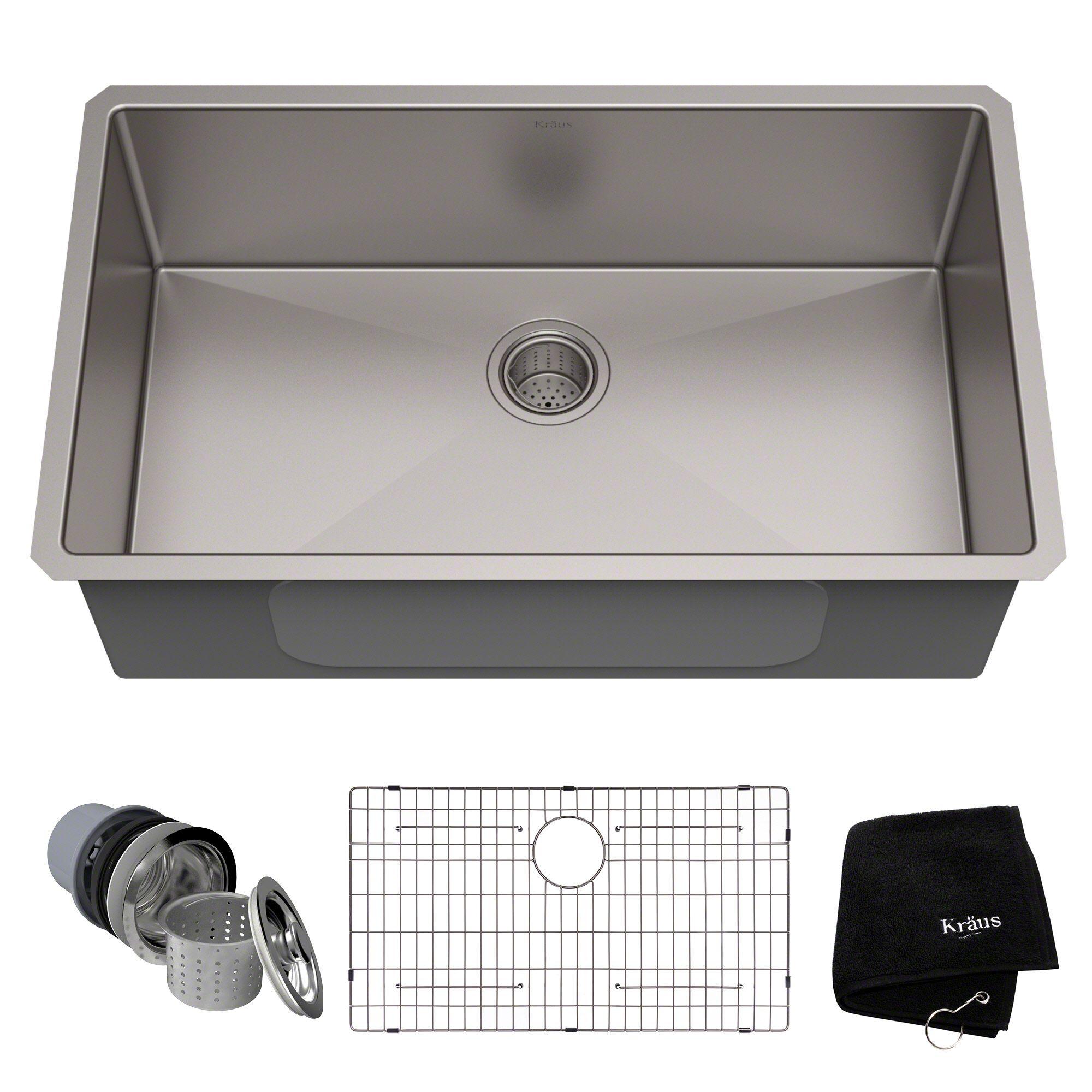 32 Undermount 16 Gauge Stainless Steel Single Bowl Kitchen Sink In 2020 Undermount Kitchen Sinks Single Bowl Kitchen Sink Sink