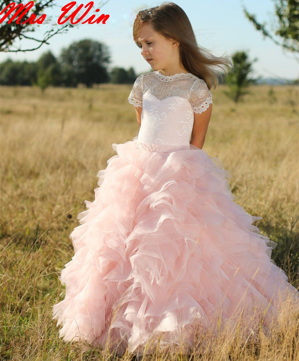 Cute Blush Pink Flower Girl Dresses Organza Ruffled vestidos de ...