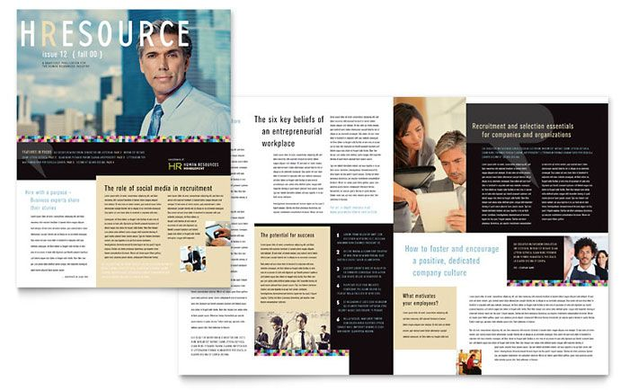 Human Resource Management Newsletter Design Template by - sample business newsletter