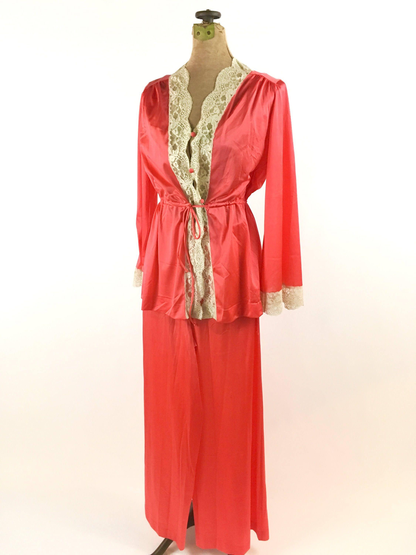 Vintage 1950s Vanity Fair Pajama Set Coral Orange Nylon And Lace Pajamas  Size XS S Long