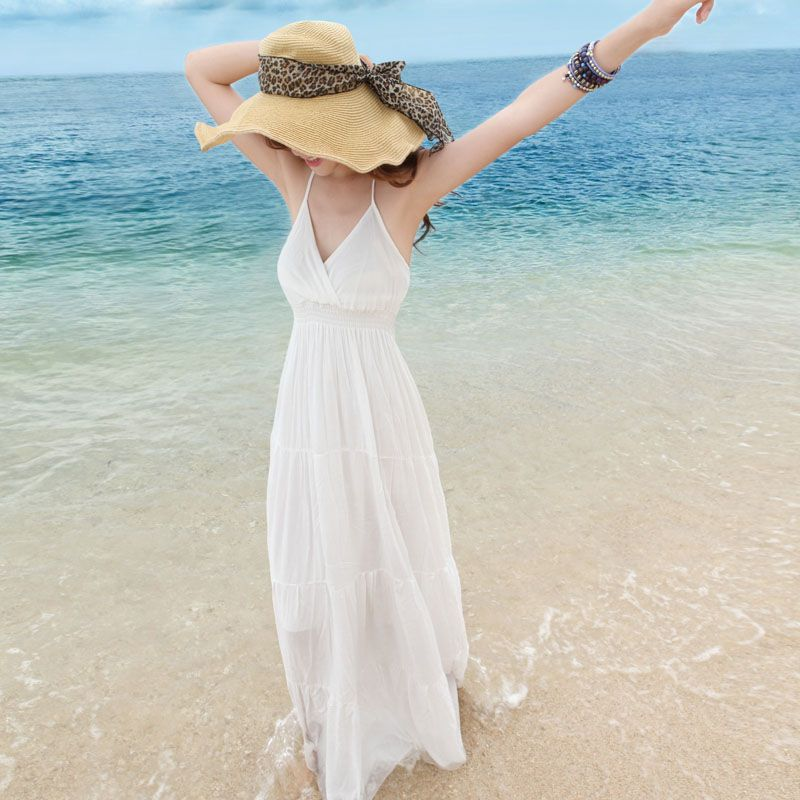 Plus Size Casual White Dress Style Long White Beach Casual Dress