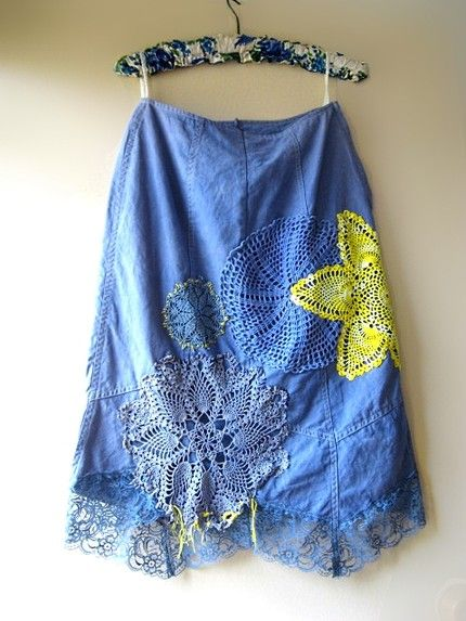 I adore this skirt with blue and yellow doilies!  On Etsy ...