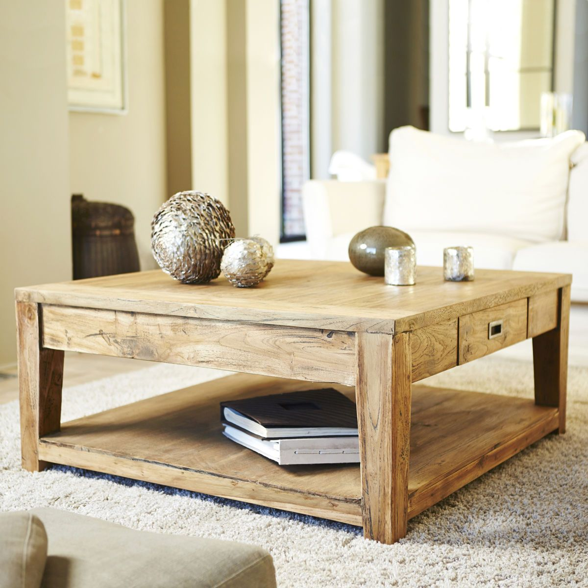 table basse carree teck recycle 100cm
