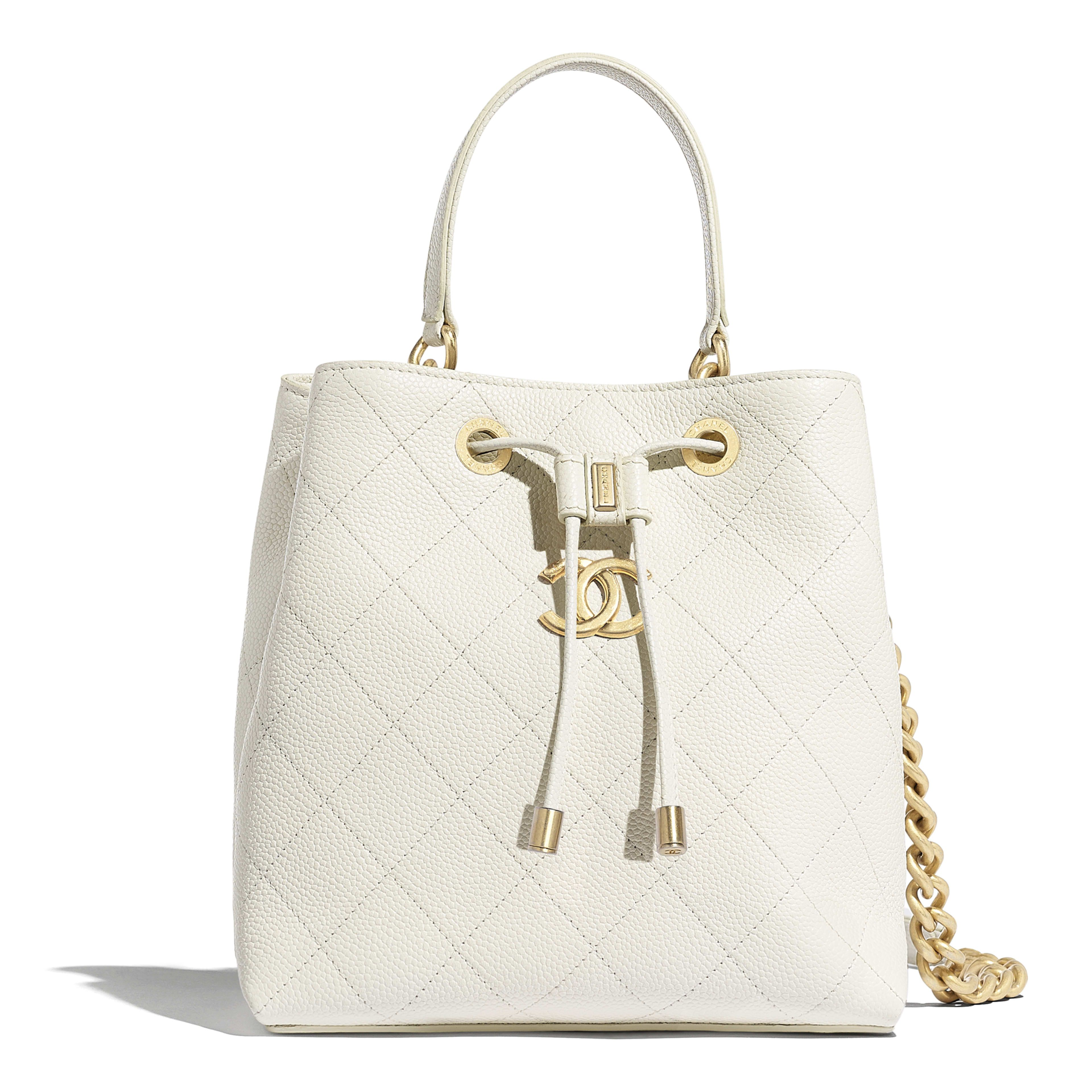 18a948c67b Drawstring Bag - White - Grained Calfskin   Gold-Tone Metal - Default view  - see full sized version