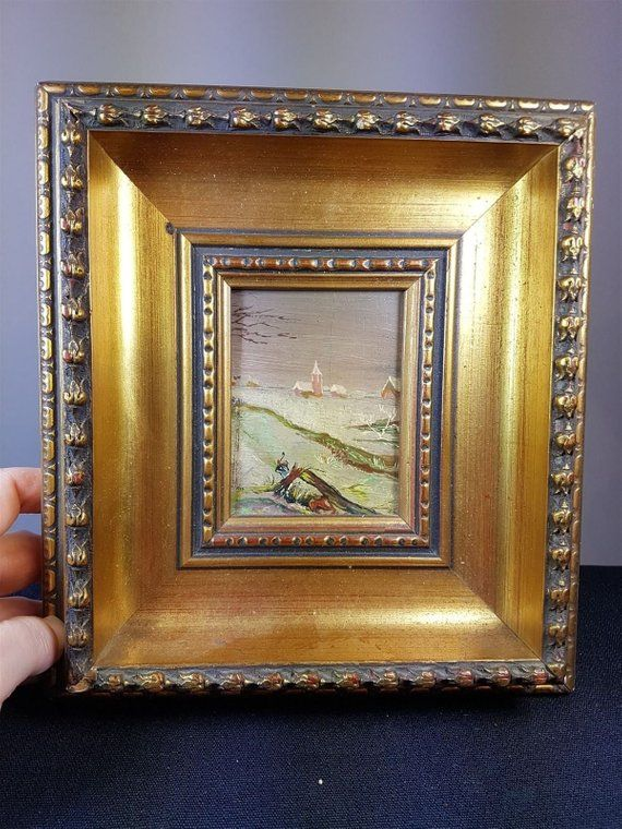 f75f9c0a3261 Antique Miniature Oil Painting Winter Landscape Scene on Board in Gold Gilt  Frame Original Art