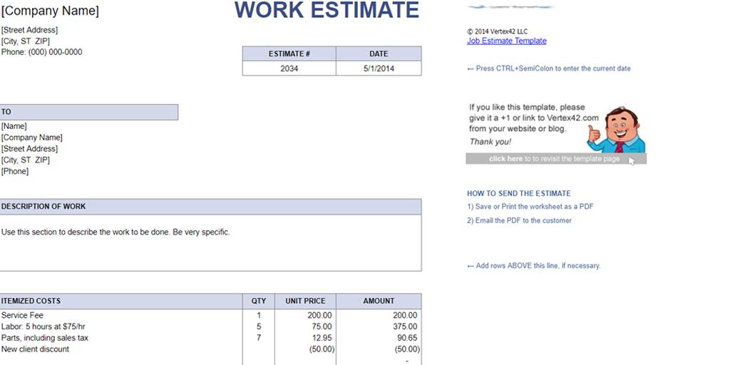 Free Estimate Template - Vertex42 Job Estimate | Process