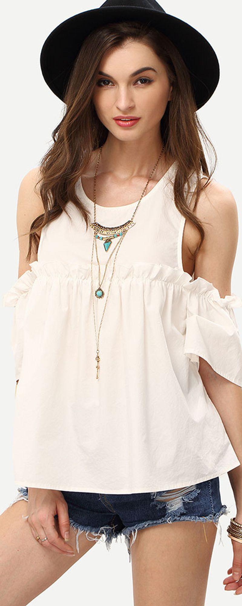 White Cold Shoulder Ruffle Details Blouse - Cute Tops - Romwe.com