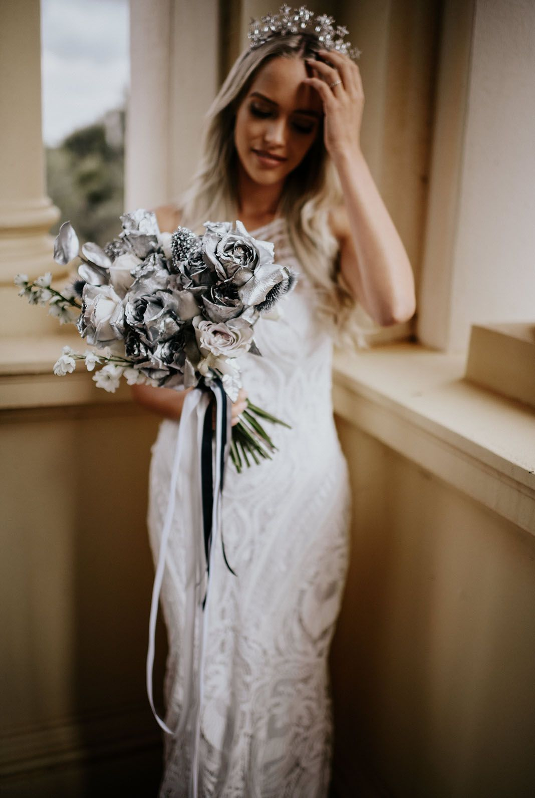 When Stars Align Silvery Celestial Rustic Elopement Inspiration