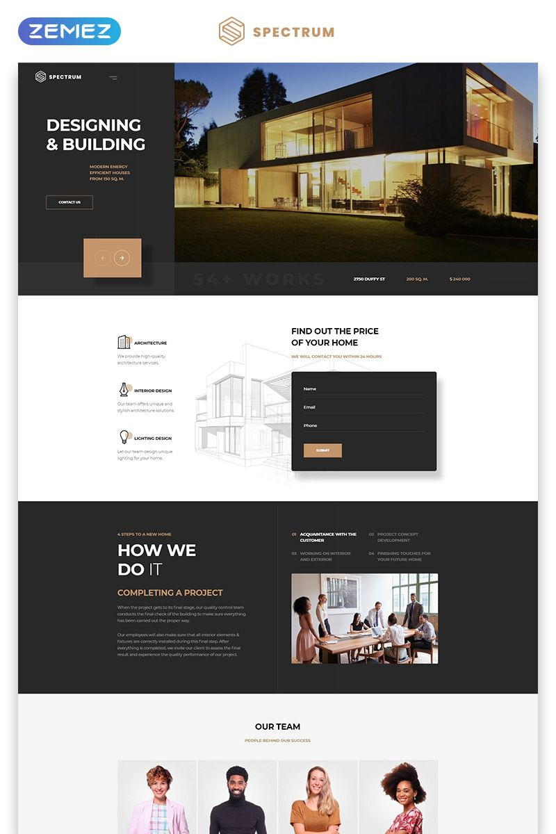 Spectrum Architecture One Page Modern Html Landing Page Template Landingpage Page Arch Real Estate Web Design Real Estate Website Design Web Layout Design