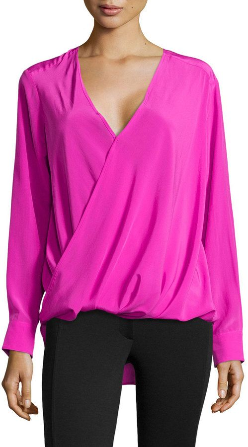 purchase cheap wholesale sales no sale tax 10 Crosby Silk Wrap Front Blouse Shocking Pink   Silk wrap, Hot ...