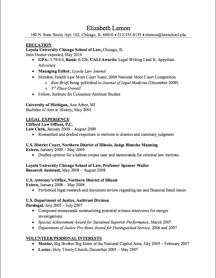 Sample Law Clerk Resume Examples Resume Cv Chicago School Resume Loyola University Chicago