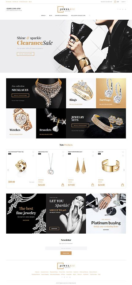 Jewelrix  Jewelry Store Magento 2 Theme is part of Magento themes, Magento design, Jewelry banner, Jewelry website, Jared jewelry, Store design - This comprehensive preview of the Jewelrix Magento Theme (58903) will allow you to make a well informed decision to order and enjoy this premium website template