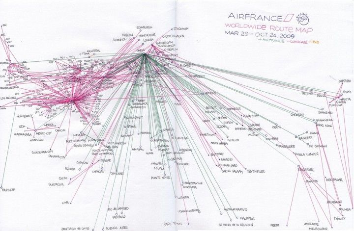 Air France worldwide route map circa 2009 source    news - new air france world map flight routes c.1948