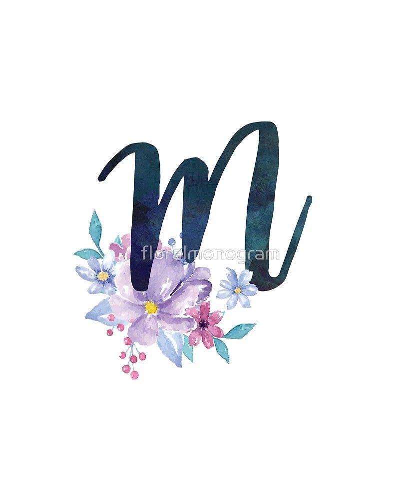 Monogram M Pretty Lilac Bouquet Sticker By Floralmonogram In 2021 Monogram Wallpaper Monogram Lilac Bouquet
