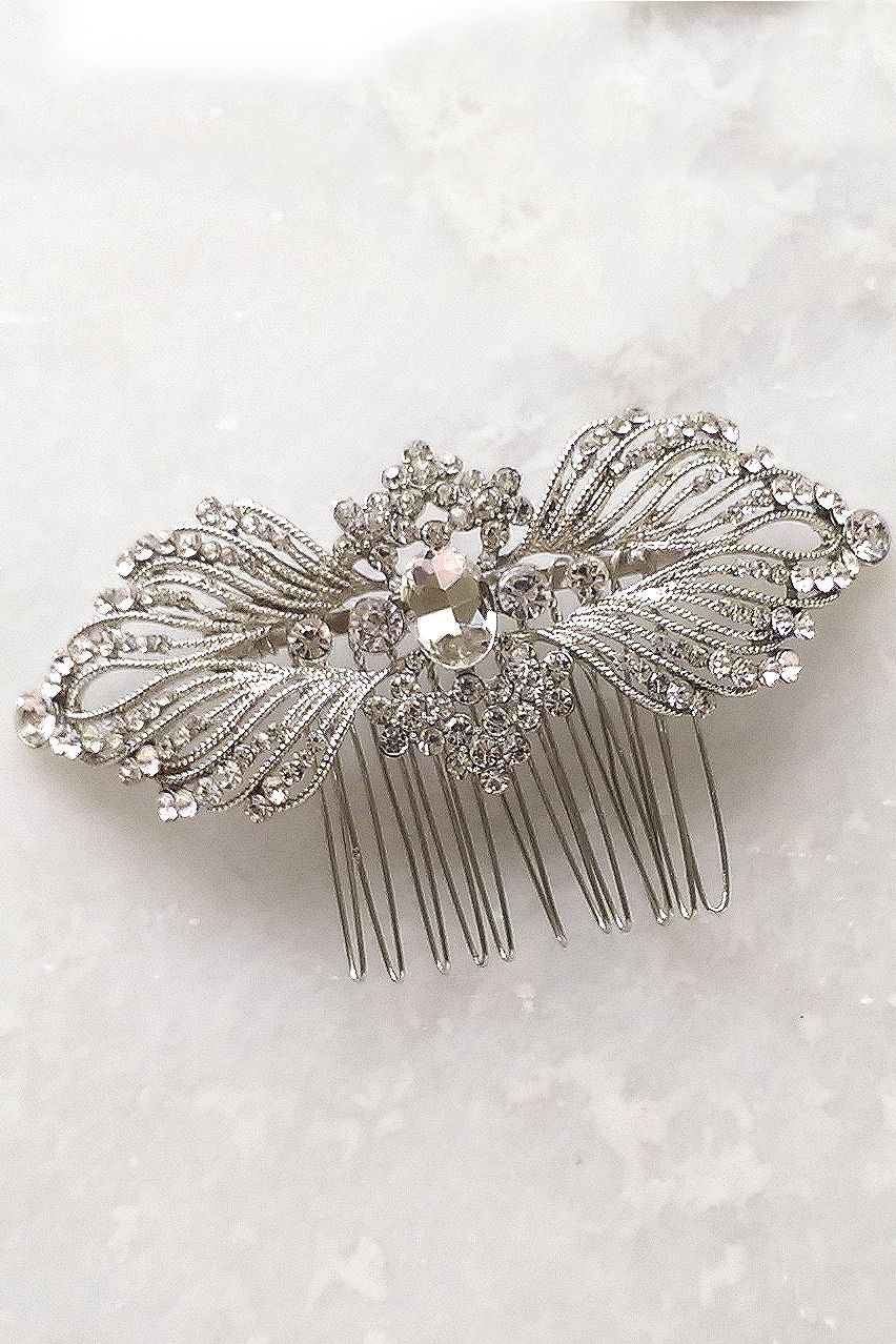 Silver Vintage Style Crystal Art Deco Hair Comb Hair Accessories Vintage Art Deco Hair Bridal Hair Accessories