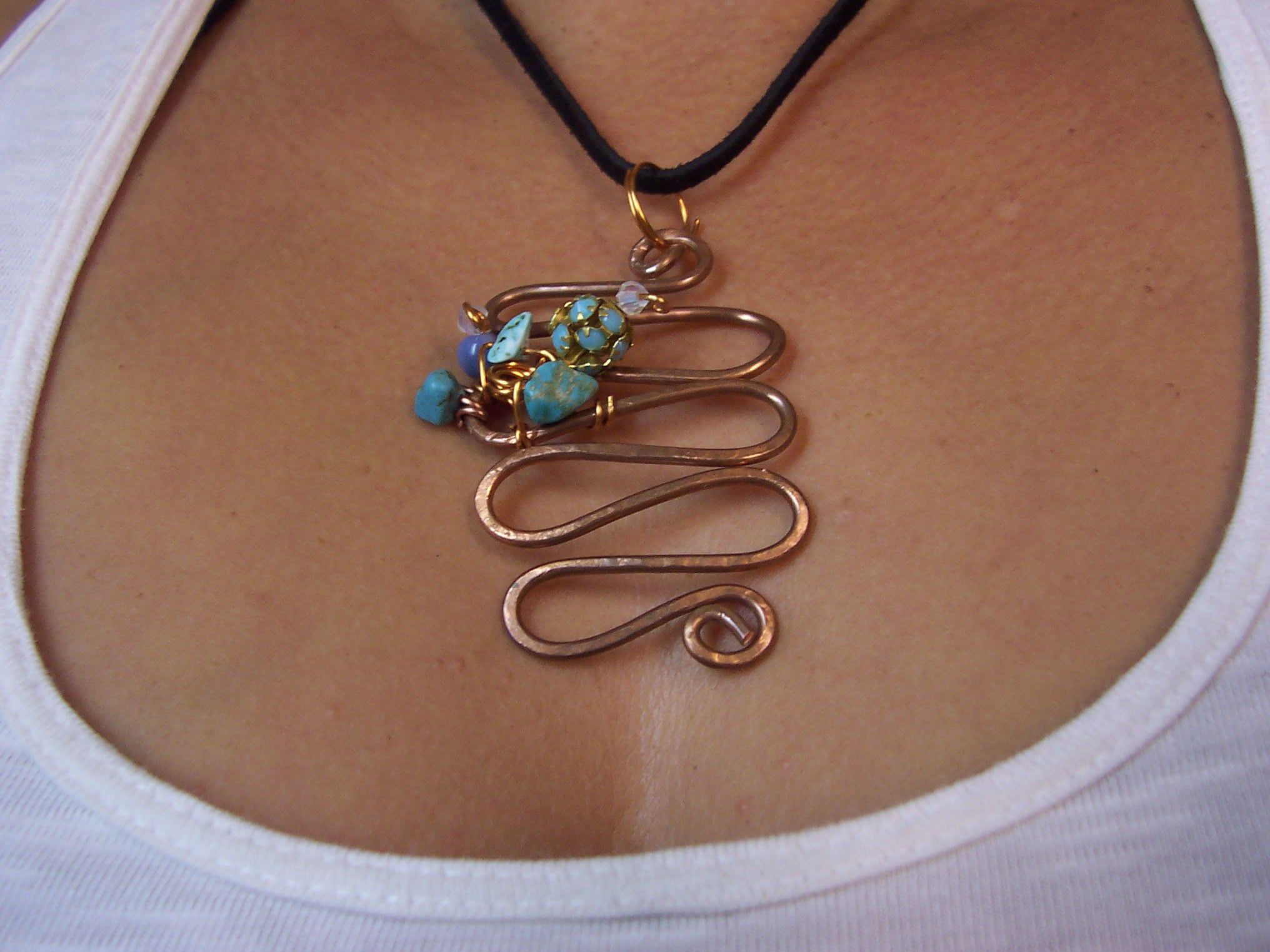 Real copper and gemstones, handmade pendant comes on deer leather ...