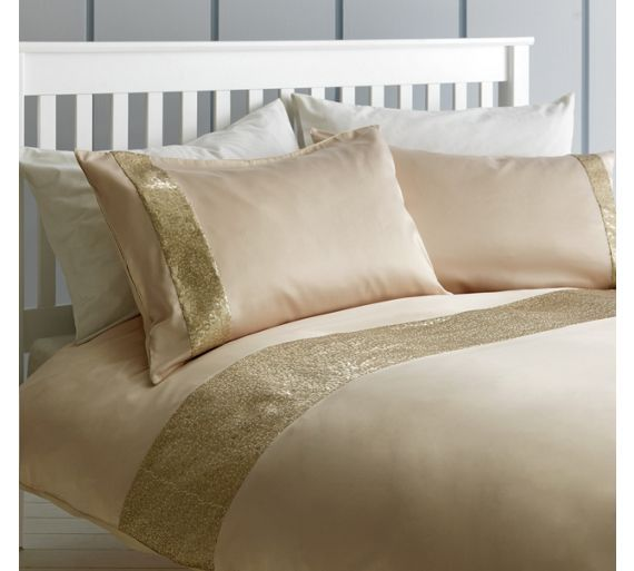 Collection Gold Sequin Banner Bedding Set Kingsize At Argos Co Uk