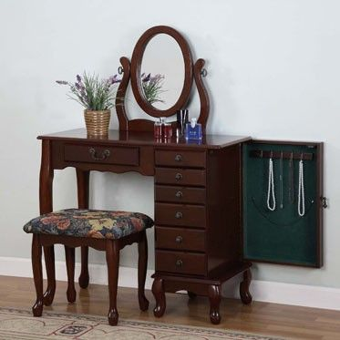 Heirloom Cherry Jewelry Armoire Vanity Mirror Bench Jewlery